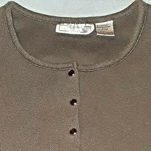 Keneth Too Brown Sweater Petite Medium PM Cardigan